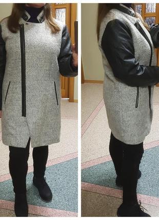 Теплое пальто с кожаными рукавами Only