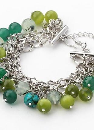 Шикарный браслет из зеленого кошачьего глаза и зеленого кварца