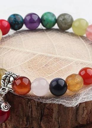 Эластичный браслет из ассорти натуральных камней (диаметр бусин 8