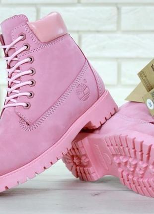 💖новинка💖женские кожаные ботинки timberland pink. тимберленд.