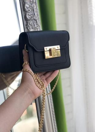 Черная сумка сумочка клатч на цепочке