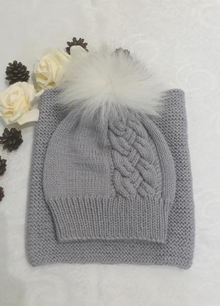 Комплект вязаний дитячий (шапка + снуд)