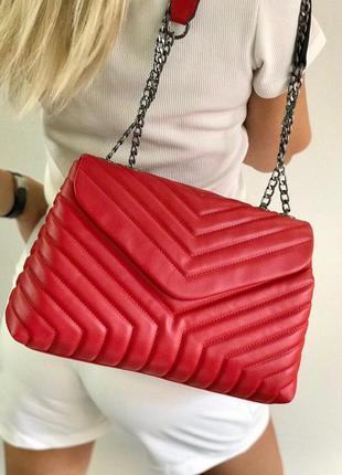 Большой базовый стеганый красный клатч красная сумка на цепочк...