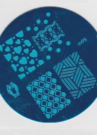 Пластина m95 стемпинг трафарет форма плитка диск для маникюра