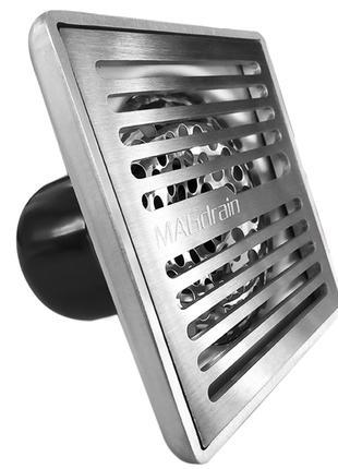 N2 Трап сливной матовый MAGdrain PFC35Q3-B н/ж, 100х100 мм Н-85