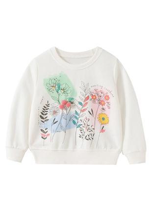 Кофта для девочки, белая. цветы и травы.