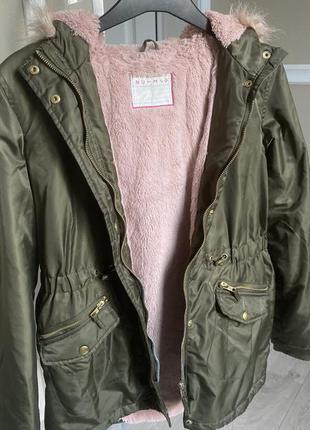 Парка демисезонная,зима,куртка с розовым мехом hutmeg 13-14лет