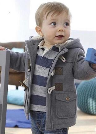 Крутое утеплённое пальто кардиган мальчику