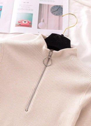 Базовая кофта свитер гольф водолазка в рубчик на молнии