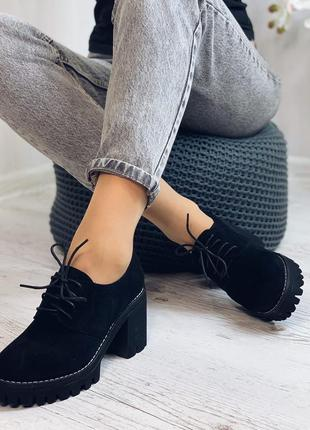Туфли женские, эко-замш, каблук 8 см, платформа 3 см