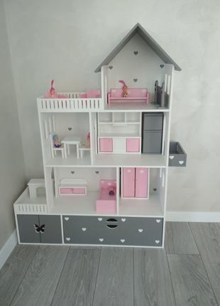 Домик для кукол с мебелью  , кукольный домик для Барби