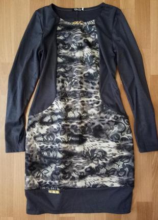 Платье  серое с узорами