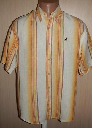 Льняная тенниска рубашка marlboro classics p.m 100% лён
