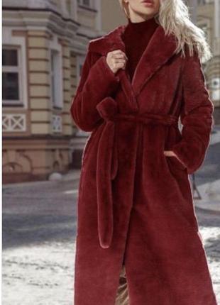 Шуба экомех зимняя стильная модная sipamces размер l-xl