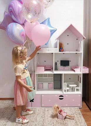 Домик для кукол с мебелью, кукольный домик Барби,
