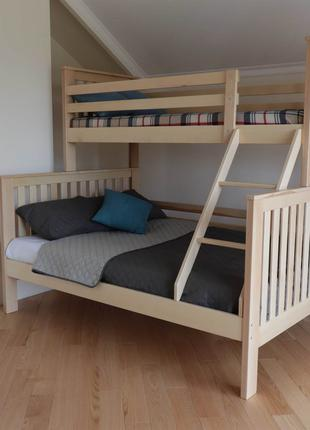 Дерев'яне ліжко. Двоярусне ліжко . Трьохспальне ліжко 80/120х190.