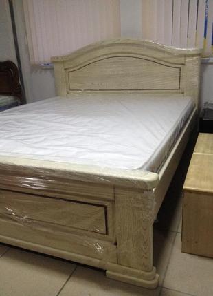 Ліжко масив дуба біле з золотою патиною від виробника
