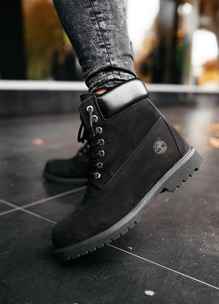 Женские ботинки timberland осень зима натуральный нубук чёрные