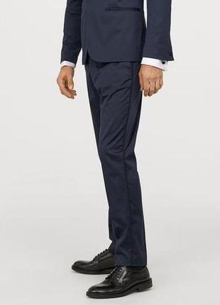 Синие атласные брюки h&m под смокинг , skinny fit !