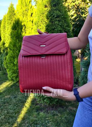 Городской рюкзак david jones 6158-2 красный (стеганый, с клапа...