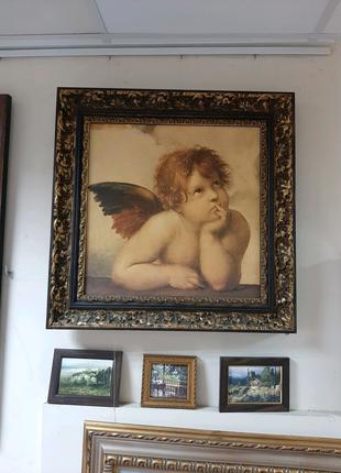 "Картина в раме дорогого багета из дерево Испания ""Ангел"""