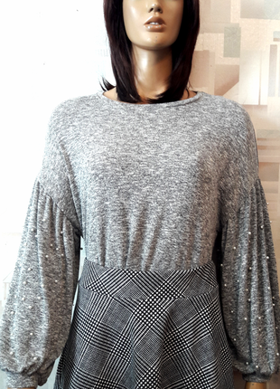 Стильный серый джемпер свитер оверсайз с рукавами фонариками и...