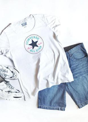 Converse all star белая летняя футболка мужская женская оригин...
