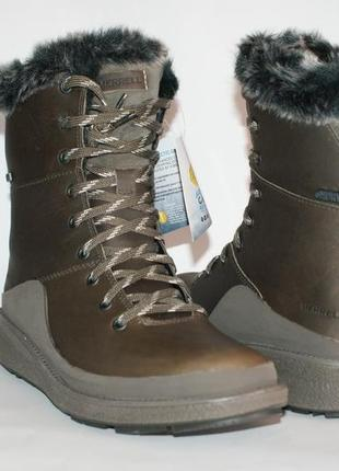 Кожаные зимние ботинки merrell, водонепроницаемые, солеустойчи...