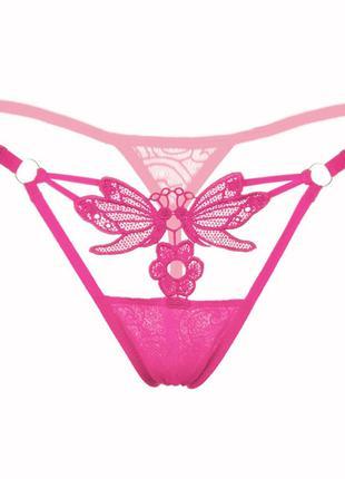 Трусики танга украшены бабочкой розовые