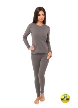 Женский комплект термобелья серого цвета штаны и футболка с дл...