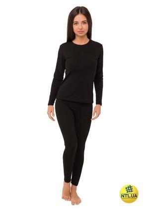 Женский комплект термобелья черного цвета штаны и футболка с д...