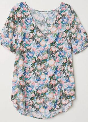 Блуза с протеей и попугаями h&m p 12