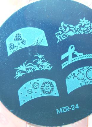 Диск mzr24 френч стемпинг пластины клише формы плитки узоры дизай