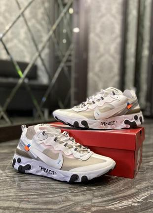 🔥 nike react off-white white