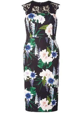 Платье миди с кружевом и цветами