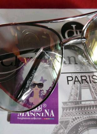 Красивые солнцезащитные очки Mannina с прозрачной линзой с жемчуж