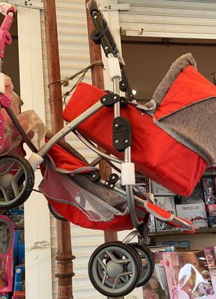 Коляска для кукол Melogo 9662-1 4 в 1, поворотные колеса, 2 перен