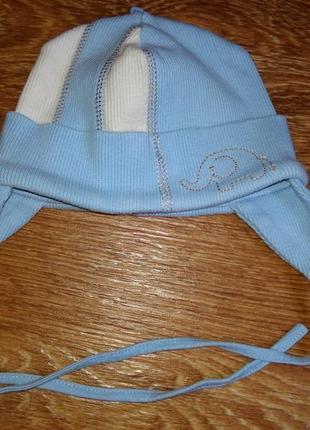 Хлопковая шапочка с ушками на новорожденного