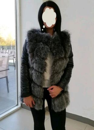 Куртка с рукавами, из кож.зама, с искусственным мехом.