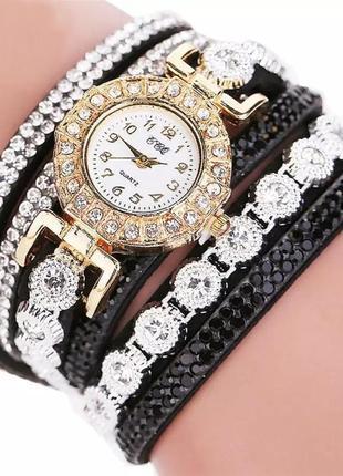 Часы браслет наручные женские черные годинник