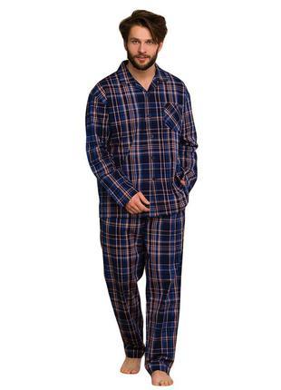 Мужская хлопковая теплая пижама в сером цвете key mns 466 b20