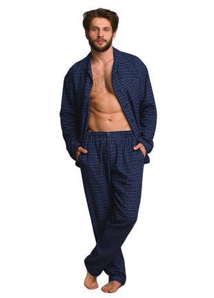 Мужская хлопковая теплая пижама в графитовом цвете key mns 458...