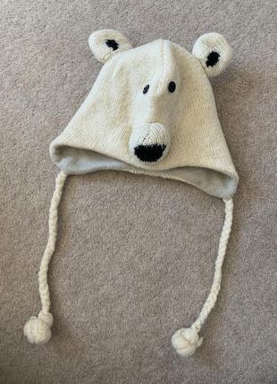 Шапка ушанка на завязках белый мишка шерсть 🧸