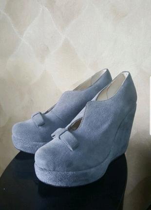 Туфли батильены замша кожа