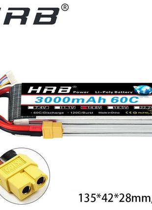 HRB 3000Mah 14.8 V 4S 60C 120C XT60 LiPo аккумулятор