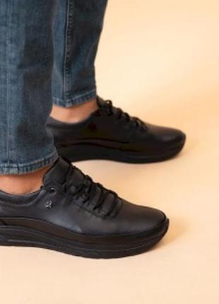 Кроссовки мужские кожаные черные