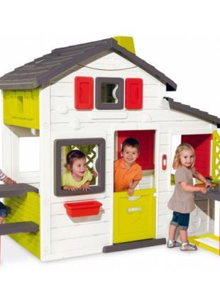 Детский дом с чердаком и летней кухней Smoby 810200, дом игровой
