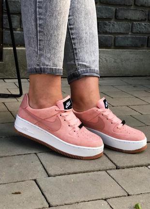 Женские замшевые кроссовки nike nike air force 1 pink 😍