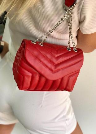 Базовый стеганый красный клатч красная сумка на цепочке стеган...