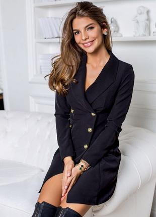 Черное Платье пиджак с пуговицами женское короткое офисное